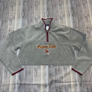 Arizona State Cropped Top Fleece Upcycled Custom